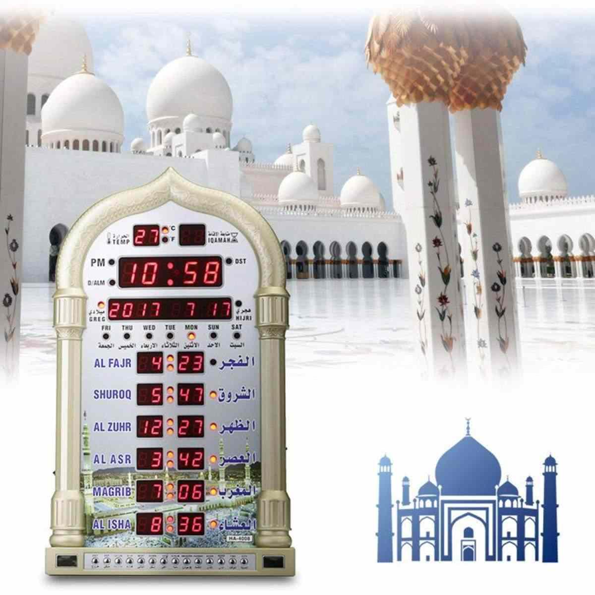Azan Masjid Jam Sholat Islam Masjid Azan Kalender Doa Muslim Wall Clock Alarm Ramadan Dekorasi Rumah + Remote Control
