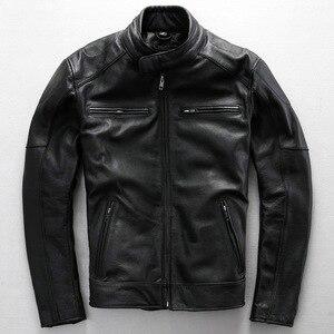 Image 5 - משלוח חינם. בתוספת גודל קלאסי גברים פרה עור מעילים, גברים של אמיתי עור אופנוען. מותג מנוע עור מעיל