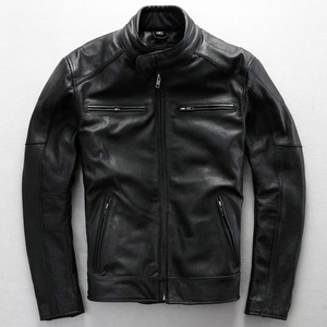 Image 5 - Free shipping.plus size classic men cow leather Jackets,mens genuine Leather biker jacket.Brand motor leather coat