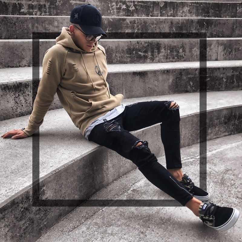 Мужские стильные дизайнерские брендовые черные джинсы обтягивающие рваные стрейчевый Облегающий Брюки в стиле хип-хоп с дырками для мужчин S-4XL