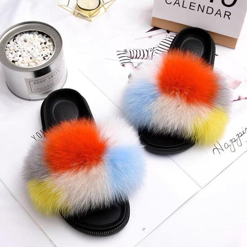 2019 Big Full Fur Slippers Real Fox Hair Slides Beach Slides Holiday Fox Fur Slides for Women,See 8.5