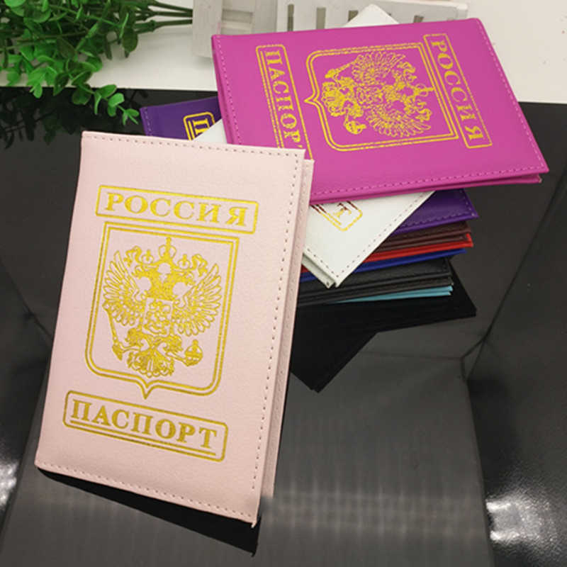 Travel Passport Cover Russia Russian Passport Cases Holder Brand Girls Travel PU Leather Passports Holder For Men Women