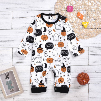Baby Halloween Jumpsuit Cute Cartoon Pumpkin Print