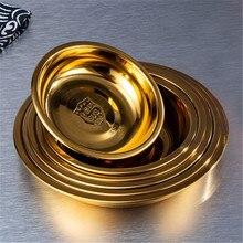 Soucoupe ronde d'assaisonnement en acier inoxydable or 304, casserole ronde, sauce soja, vinaigre, hôtel, petit plat