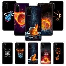 Caixa do telefone para samsung galaxy s note 10 20 7 6 9 8 plus borda e ultra lite preto capa à prova d3d água 3d escudo cesta de basquete