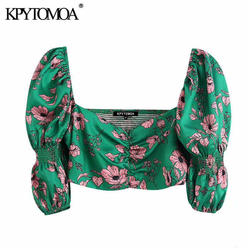 KPYTOMOA Women 2020 Sweet Fashion Floral Print Cropped Blouses Vintage V Neck Puff Sleeve Back Stretch Female Shirts Chic Tops