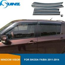 Deflectores de ventana lateral para Skoda Fabia 2011 2012 2013, visera de humo, parasol Deflector de lluvia y sol