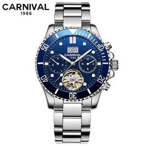 Tourbillon механические часы для мужчин Топ люксовый бренд карнавальные часы спортивные автоматические часы водонепроницаемые мужские часы ...