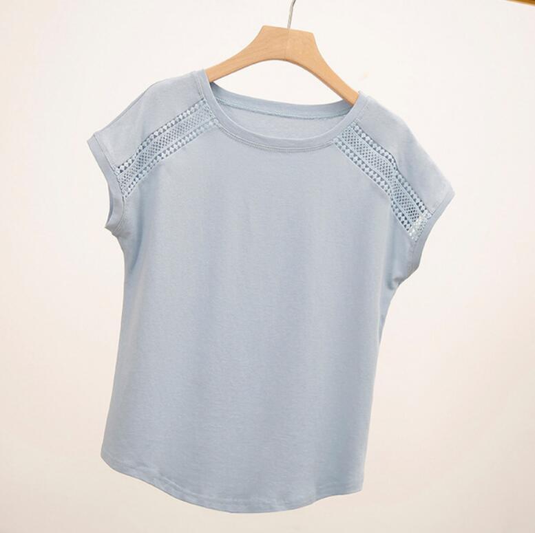 2020 camisa feminina verão moda de manga curta camiseta feminina topos de algodão cor sólida camisa casual