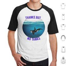 Obrigado mas não tanques t camisa masculina mulher adolescente 6xl orca assassino baleia peixe-negro golfinho cetáceo seaworld cativeiro boicote