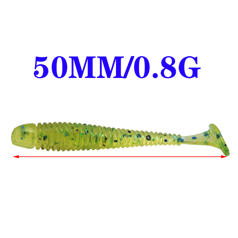 50pcs or 20pcs Worms Fishing lure Jig Wobblers Soft bait 5cm 0.8g Artificial Silicone bait Bass Swimbait Pesca Fishing Tackle-2