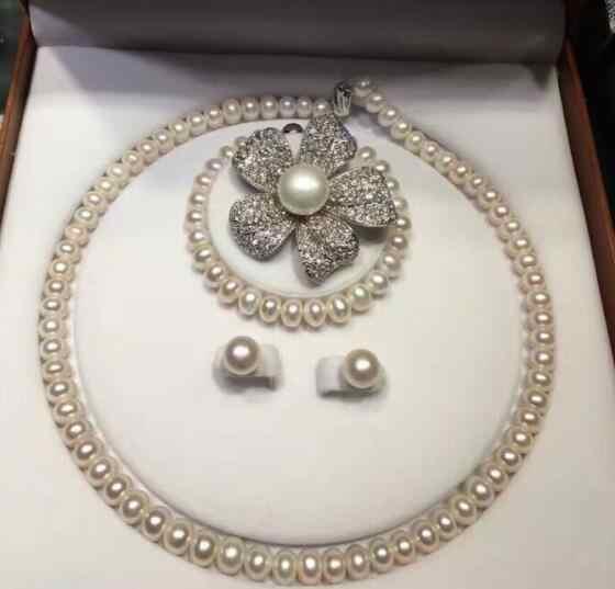 Gioielli di Perle Set di lusso Nobile dei monili Insieme Dei Monili Lavanda Perla Del Braccialetto Della Collana Spilla (Spilla di Trasporto Libero Casuale