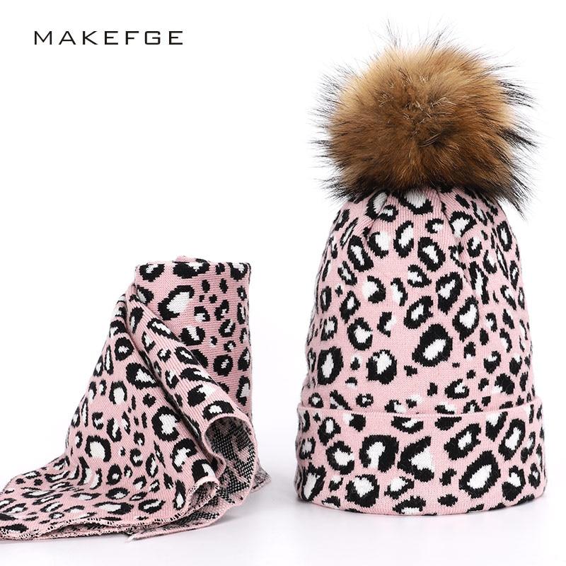 Fashion Leopard Women Pompon Cap Scarf Real Fur Raccoon Ball Cap Bib Set Headscarf Hat Winter Warm Ski Hat Ms. Beanie Mask