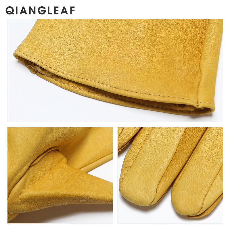 Image 5 - QIANGLEAF Brand New Yellow Work Drivers Gloves Gardening Household Work Cowhide Leather Safety Working Glove Men&Women 130NP-in Safety Gloves from Security & Protection