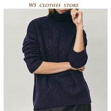 MD 2020 automne hiver mode col roulé laine Argyle solide chandail femmes angleterre Style à manches longues hauts bureau dame chaud chandail