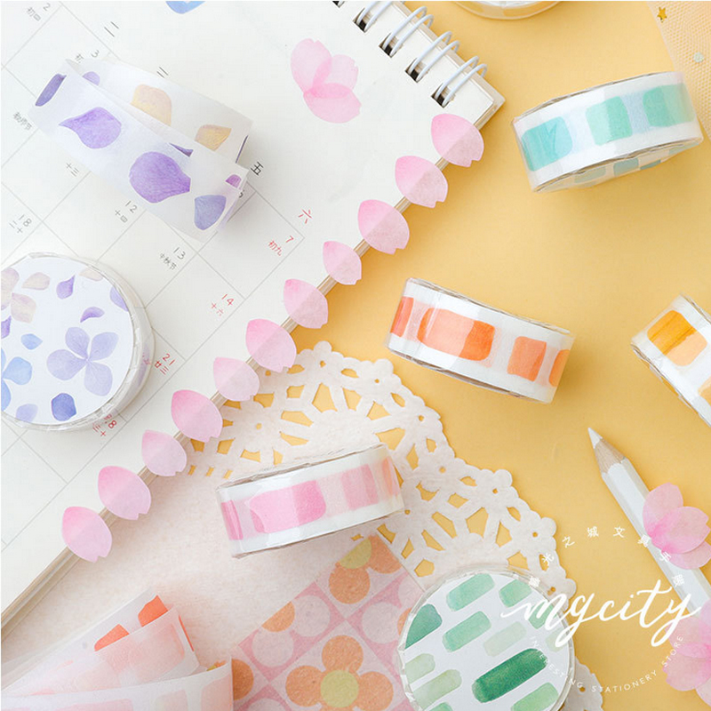 1.5cm*3m Muguang Plant Petals Washi Tape DIY Decorative Scrapbook Planner Masking Tape Adhesive Tape Label Sticker Stationery