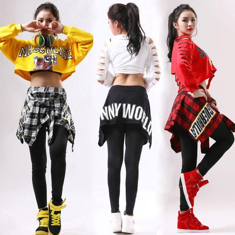 Hip Hop Costume Girls Street Dance Clothes Cheerleader Costume Kids Rave Outfit Women Dj Ds Dancer Jazz Stage Show Wear DT1069