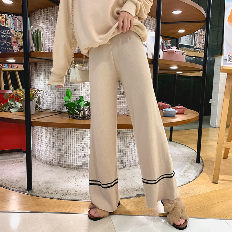 Knitted Loose   Pants   Women's 2019 Autumn New Style Lace-up High-waisted Casual   Capri     Pants   Drape Loose-Fit   Pants   F7594