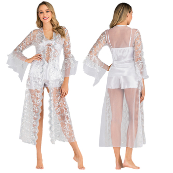 3pcs Sexy Night Robe Lace Bathrobe with Satin pajamas Perfect Wedding Bride Bridesmaid Robes Dressing Gown For Women Nightwear