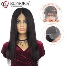 Бразильские прямые волосы 13x6 Синтетические волосы на кружеве парики из натуральных Цвет Remy человеческие волосы парик шнурка средняя часть предварительно вырезанные 14-26 для Для женщин EUPHORIA