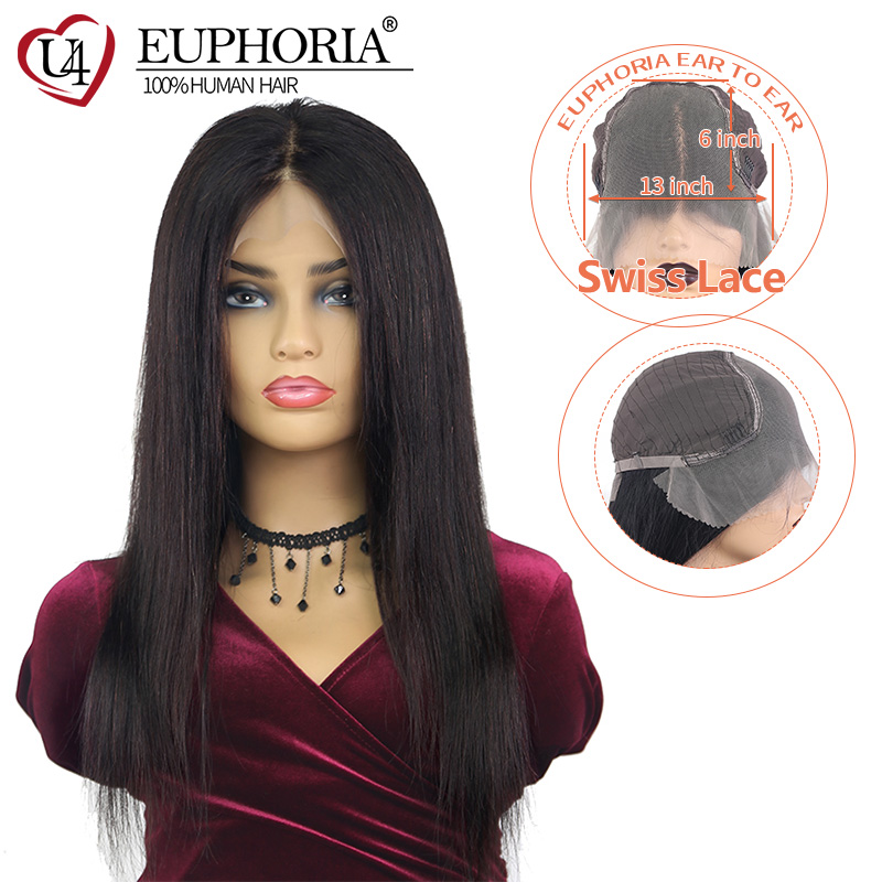 Brazilian Straight 13x6 Lace Front Wigs Natural Color Remy Human Hair Lace Wig Middle Part Pre Plucked 14-26 For Women EUPHORIA