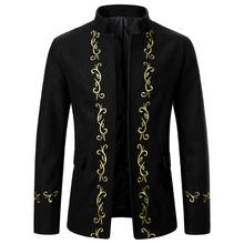 Winter New Men Jackets Casual Fashion Stand Collar Jacket Gold Embroidery Design Classic Fashion Men Coat Wedding Tuxedos