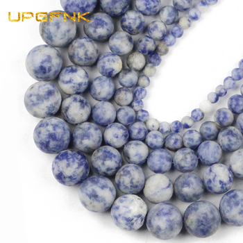 UPGFNK Natural Stone Matte Sodalite blue point white Spacers Beads For Jewelry Making 4 6 8 10 12mm DIY Bracelet Accessories image