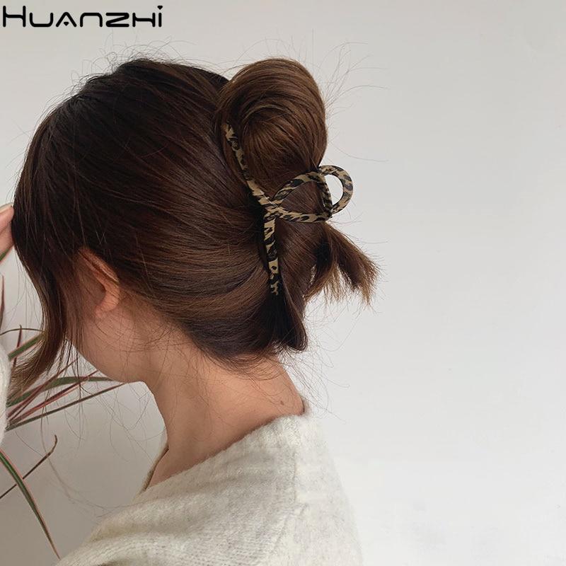 HUANZHI 2020 новые винтажные леопардовые Геометрические Квадратные заколки для волос с деревянным покрытием Акула Заколки для женщин аксессуар...