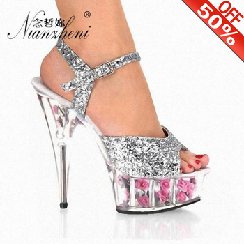 15cm high-heeled shoes crystal Glitter fashion sandals the dress women's shoes Clear 6 Inch Stiletto Heel Platformed Sandals