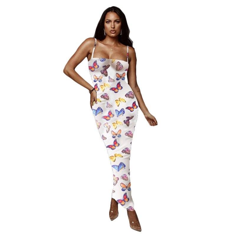 Butterfly Print Sexy Summer Club Dress Women Clothes Beach Slim Slip Bandage Bodycon Dress Elegant Long Party Dress Vestidos