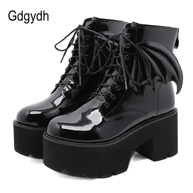 Gdgydh New Fashion Angel Wing Ankle Boots High Heels Patent Leather Womens Platform Boots Punk Gothic Sexy Model Shoes Prefect