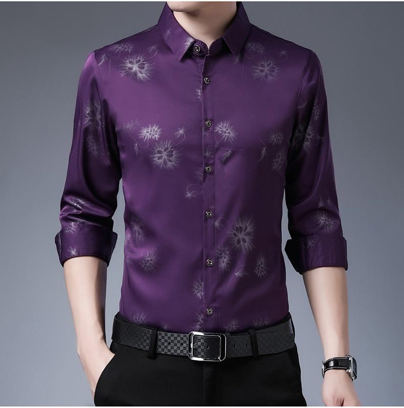 Haba1cb05e3e74412887007f0e6aacf58L 2020 Brand Long Sleeve Men Social Shirt Streetwear Casual Dandelion Shirts Dress Mens Slim Regular Fit Clothes Fashions 80503