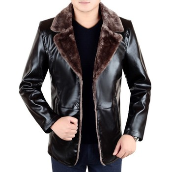 Smart Casual Winter Thick Warm Fleece Lining Men PU Leather Jackets Long Sleeve Single Breasted Lapel Loose Male Outerwear Coats