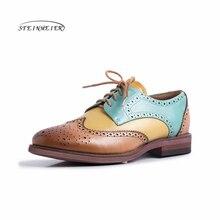 Женские туфли оксфорды из натуральной кожи, на плоской подошве, винтажные повседневные кроссовки, броги, зеленые, коричневые, 2020