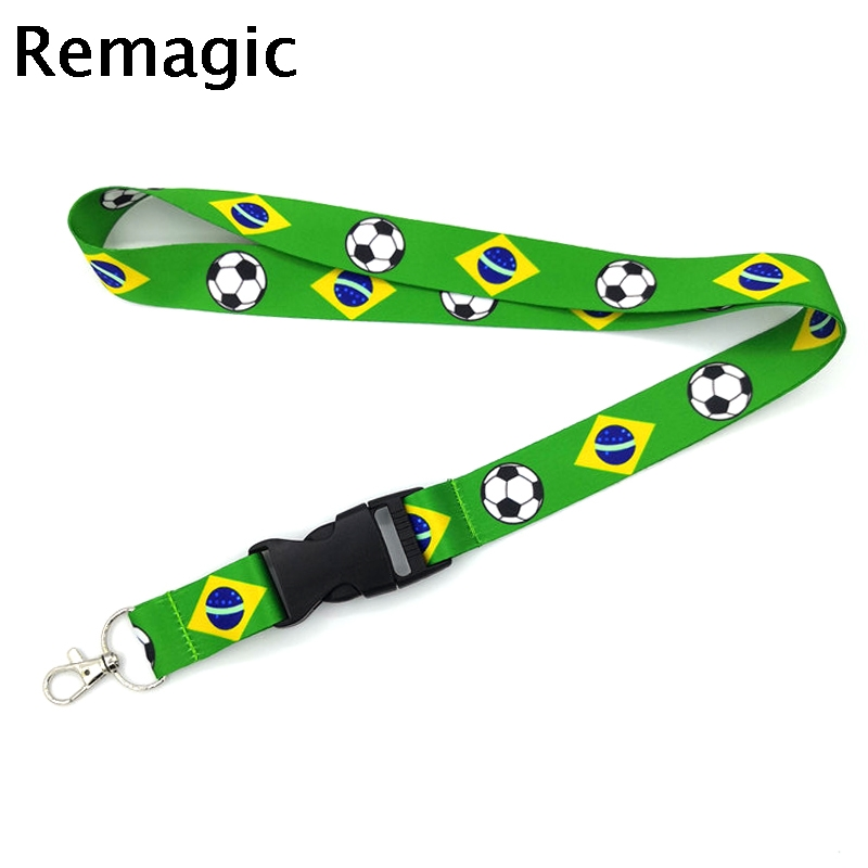 Americas Country: Brasil Brazil Lanyard Neck Strap Necklace Key Chain Card Badge Holder