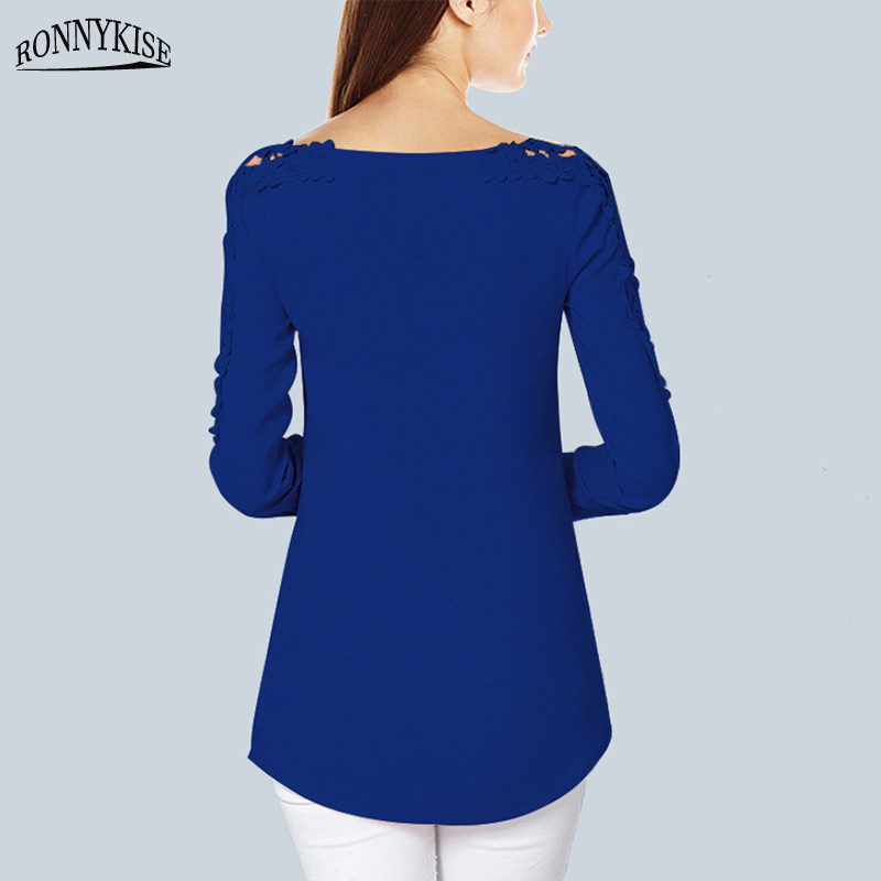 RONNYKISE Sexy V neck Lace Tops Womens Fashion Off shoulder Long sleeved T shirts Summer Autumn Laides Chiffon Tops in T Shirts from Women 39 s Clothing