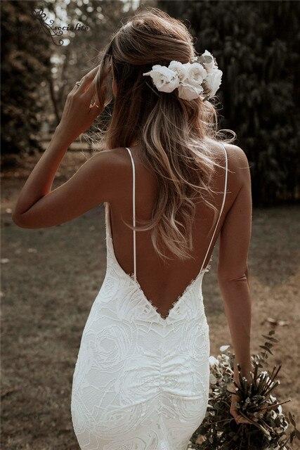 Boho Mermaid Wedding Dresses 2021 Spaghetti Straps Backless Sexy Beach Bride Dresses Bohemian Bridal Gowns Vestido De Noiva 6