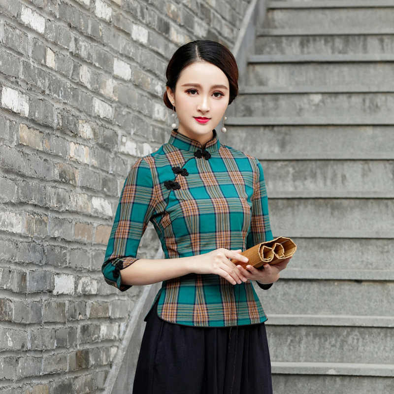 SHENG COCO Chinese Tops Camisa China Mujer Moderne Chinese Stijl cheongsam Blouse Retro Qipao Traditionele Kleding Tops