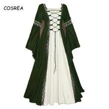 Halloween-Costume Medieval-Dress Long-Robe Cosplay Carnival Princess Women for Retro