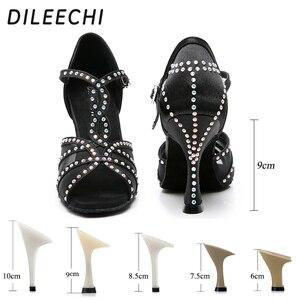 Image 3 - Dileechi sapatos de dança latina, mulheres sapatos de dança festa cetim malha brilhante strass salsa sandálias de dança 9cm