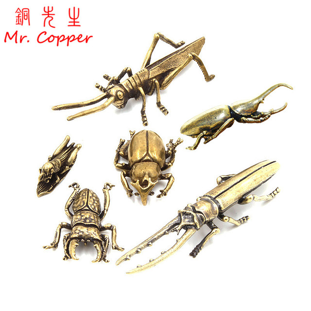 Antique Bronze 6 Styles Beetles Miniature Figurines Desktop Decorations Pure Brass Insect Tea Pets Ornament Home Decor Accessory 1