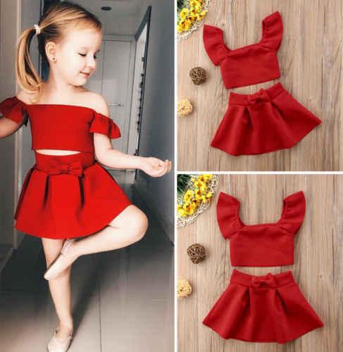 Pasgeboren Kids Baby Meisjes Formele Off Shoulder Crop Top Rok Jurk Outfits 2 Stuks Kinderkleding