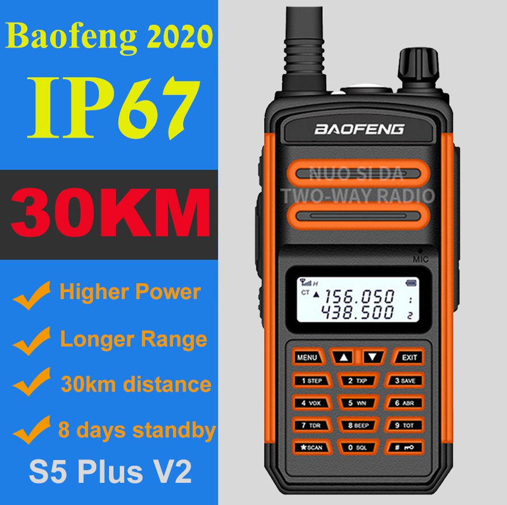 BaoFeng Walkie Talkie 10W 30km Long Range BF S5 Plus Two Way Radio  VHF UHF Portable Ham CB Radio Ip67 Waterproof Walkie Talkie