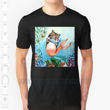 Cute Purrmaid Cat Mermaid Custom Design Print For Men Women Cotton New Cool Tee T shirt Big Size 6xl I Am Not Okay(China)