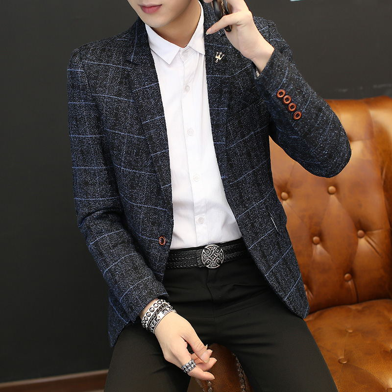 Grey Suit Men Casual Blazer Slim Fit Formal Jacket Mens Classic Blazer Knitted Buttons Roupas Masculina Tailored Blazer JJ60XX
