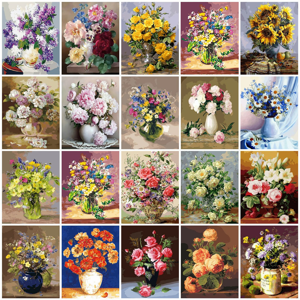 AZQSD 40x50cm Oil Painting By Numbers Flowers Pictures Paint By Number Canvas Vase Kits Painting For Living Room Home Decor