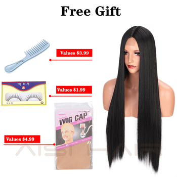 AISI HAIR Long Straight Black Wig Synthetic Wigs for Women Natural Middle Part Lace Wig Heat Resistant Fiber Natural Looking Wig 6