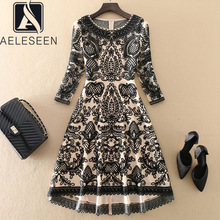 Dovetail-Dress Embroidery Flower Vestidos Runway Fashion Black Autumn AELESEEN Midi Elegant Party