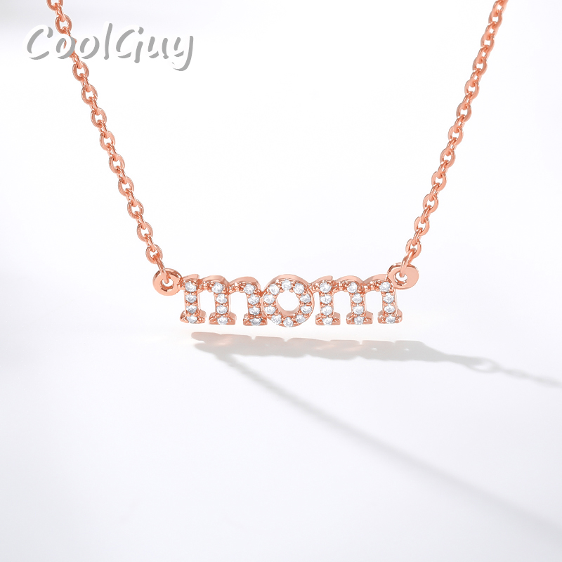 MOM Zircon Pendant Necklace Mother's Day Best Holiday Gift for Mom Birthday Surprise Crystal Necklace Woman Jewelry image