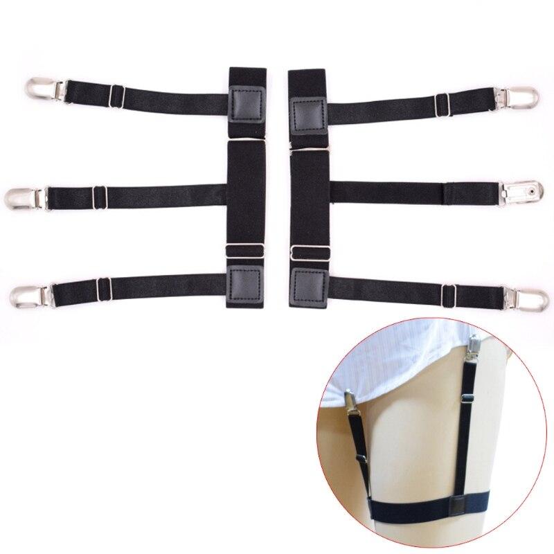 2Pcs/Set Mens Shirt Stays Holder Non-slip Locking Clamps Elastic Leg Suspenders